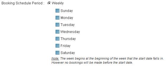 weekly bookings